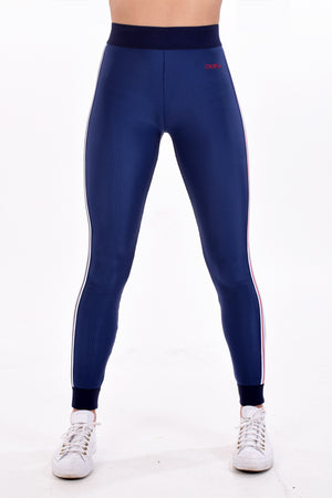 Deep Blue High Waist Mock Rib Legging by Okayla