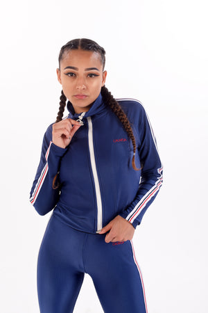 Deep Blue Mock Rib Track Top by Okayla