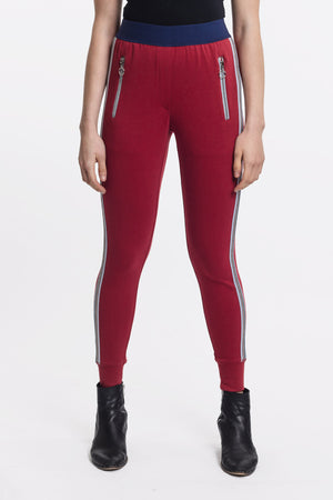 High Waist Oxblood Red Jogger by Okayla