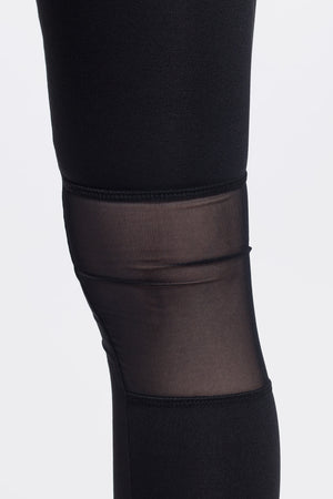 High Waist Black Mesh and Zip Detail Legging by Okayla