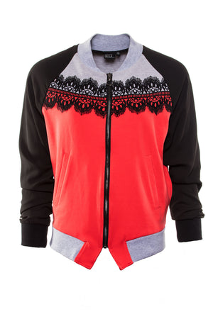 Lace Panelled Bomber by Okayla