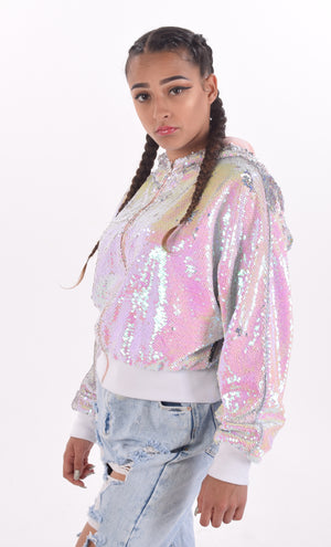 Pink + White Sequin Bomber Jacket (Made In The U.K.) by Okayla