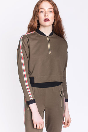 Okayla Olive Track Top with Zip