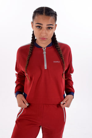 Oxblood Red Track Top with Zip by Okayla