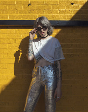 Metallic Silver Jogger by Okayla