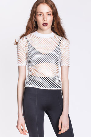 White Mesh TShirt by Okayla