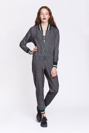 Grey Zip Front Jumpsuit with Zip by Okayla