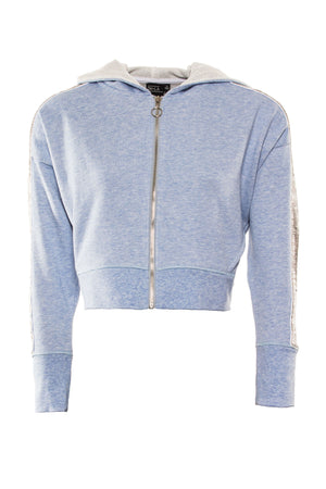 Cropped Blue Hoodie with Silver Panel by Okayla