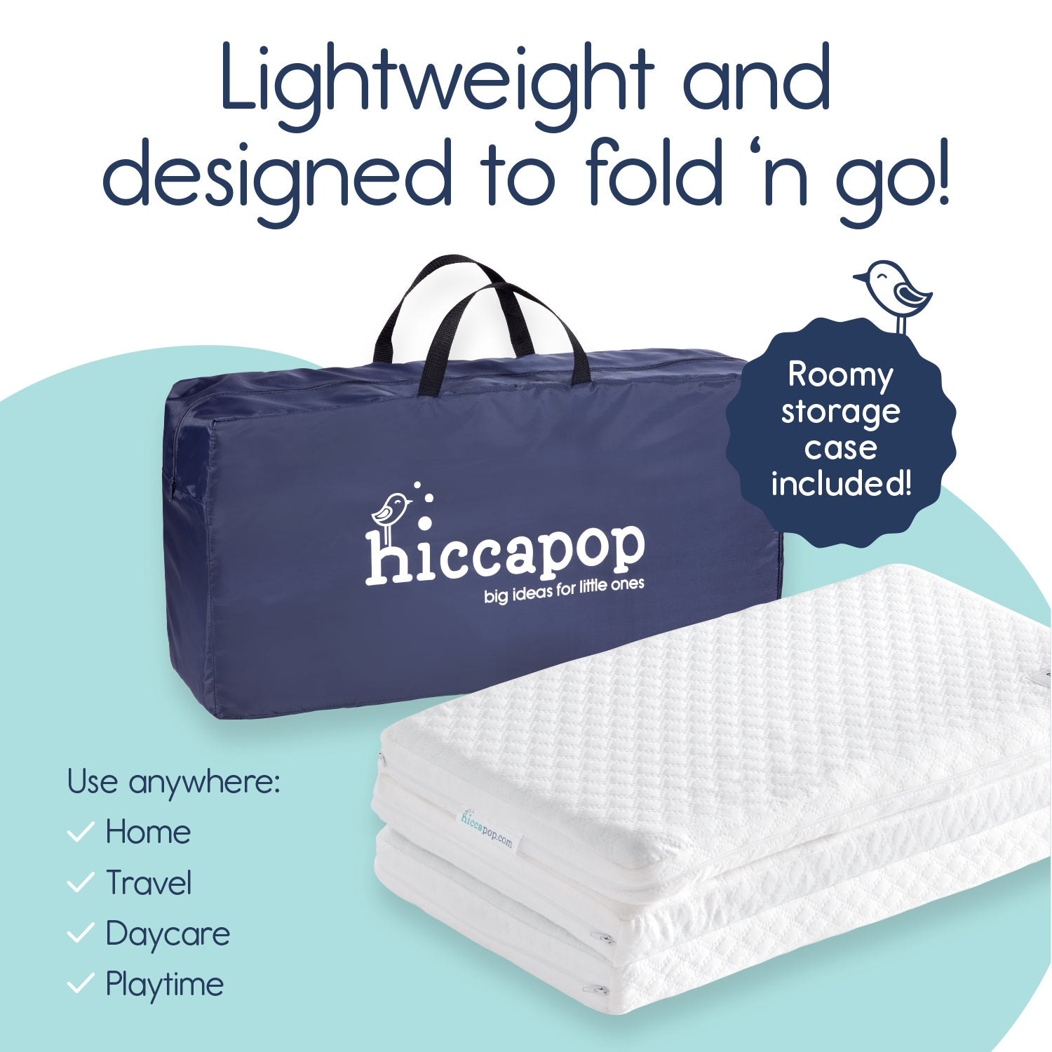 Travel Dual Sided Pack N Play Mattress Pad Hiccapop