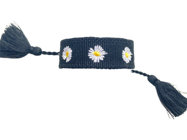Friendship Bracelet-Flower Power- Black