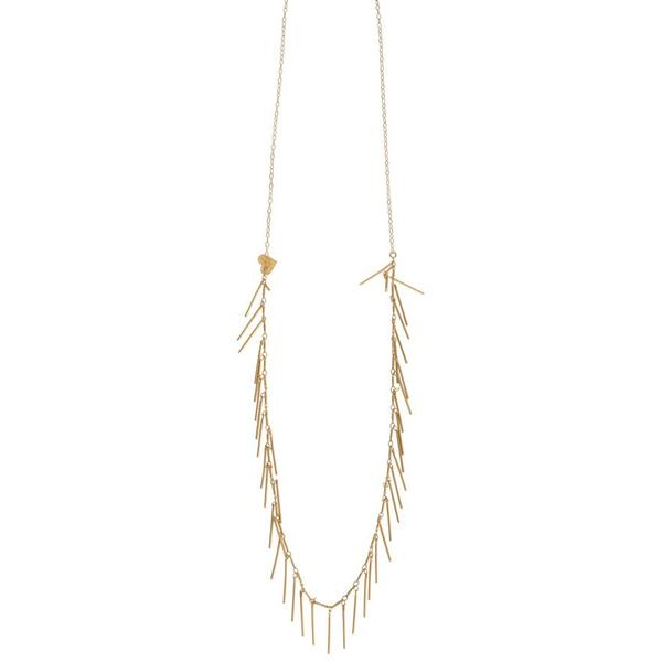 Long Gold Fringe Necklace