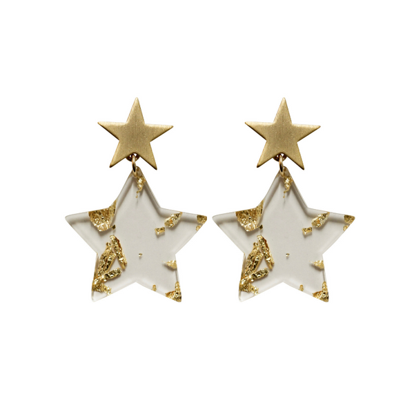 Gold Leaf Star Earring