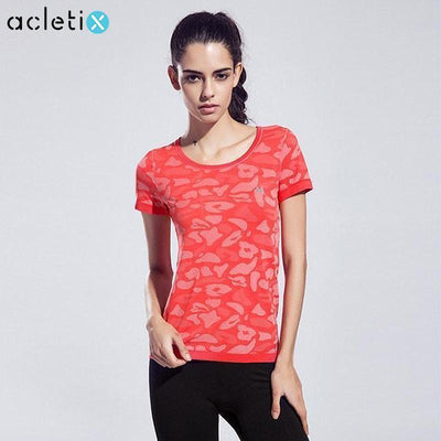 Women Short Sleeve Breathable FitnessGym Top - Quick-Drying High Elastic - Dealeaz