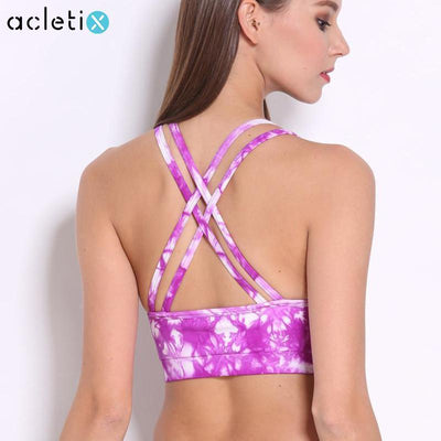 Tie Dye Back Cross Straps Sports Bra - Dealeaz