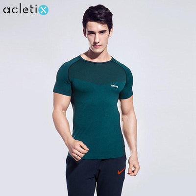 Men Light Compression Sports Short Sleeve Skin Tight Shirt - Dealeaz