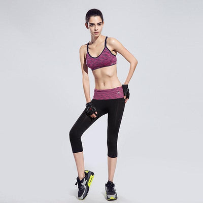 BUNDLE: Quick-Drying Cushioned Gym Bra Without Seams + Women waistband Sports ElastiC Capri - FitShopPro.com - 3