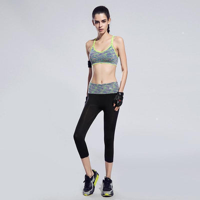 BUNDLE: Quick-Drying Cushioned Gym Bra Without Seams + Women waistband Sports ElastiC Capri - FitShopPro.com - 5