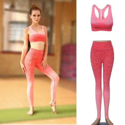 Gradient Yoga Set Mid impact Sports Bra And Elastic Leggings