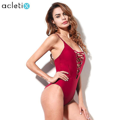 Stella - Lace Front Bandage Summer Beach Monokini Swimsuit