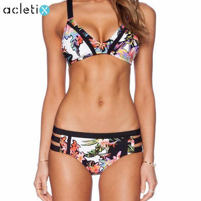 Melody - Floral V Neck High Waist Bikini - Dealeaz