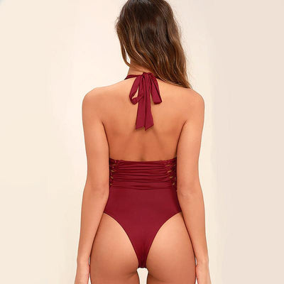 Michelle - Backless Lace Red Monokini One Piece Swimsuit