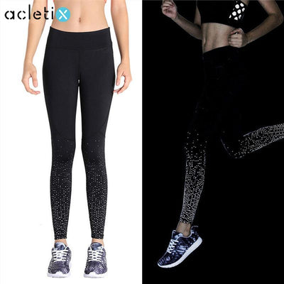 Lumina Reflective Printed Dot Contrast Fitness Leggings