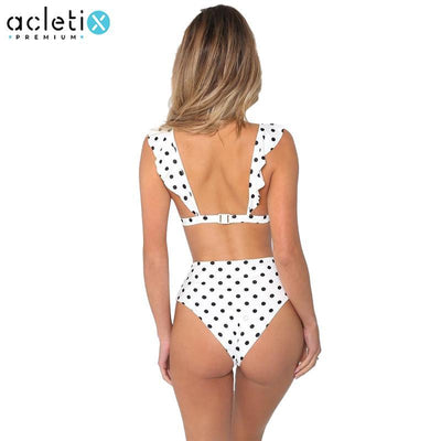 Thalia - Premium V Neck High Waist Dot Bikini