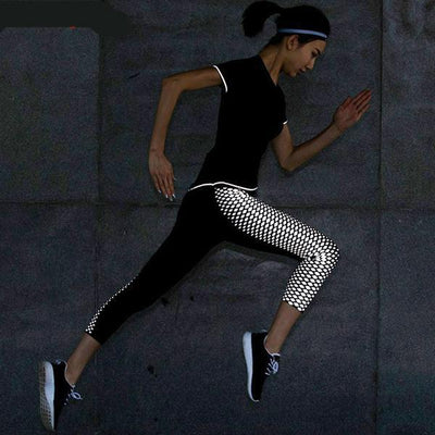 Lumina Reflective Dots Patchwork Compression Fitness Leggings
