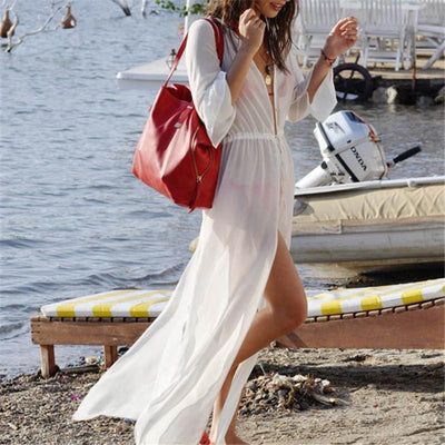 White Chiffon Long Swimsuit Cover Up - Bodeaz.com