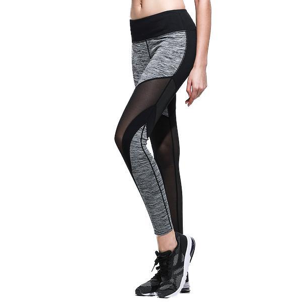 ff97c7cd2f1fc Slim Mesh Splice Patchwork Women Leggings Gray Black - Acletix