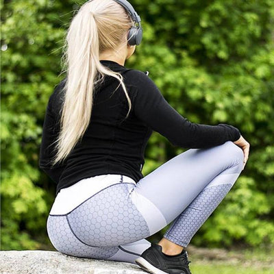 Honeycomb Patchwork Push-up Leggings - Bodeaz.com