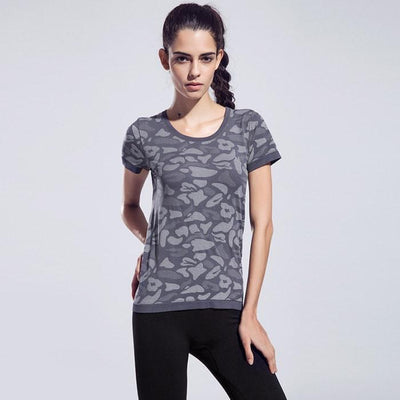Women Short Sleeve Breathable FitnessGym Top - Quick-Drying High Elastic - FitShopPro