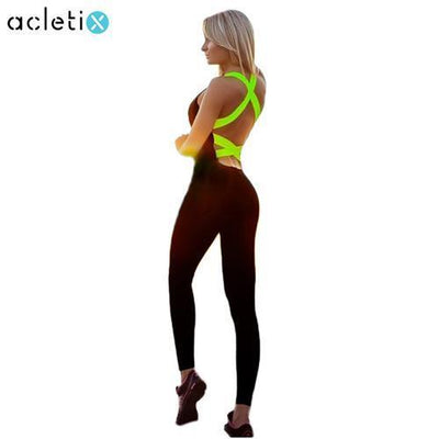 Fitness Jumpsuits Flashy Colour Bands