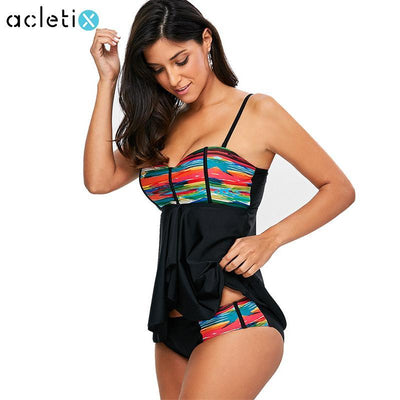 Mesh Tankini Set Plus Size Swimwear Summer Multi-Color