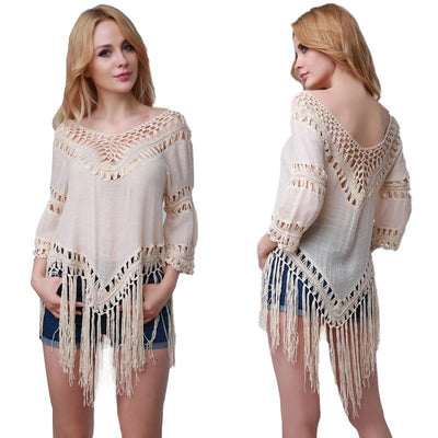 Tassel Chiffon Beach Mini Dress - Dealeaz