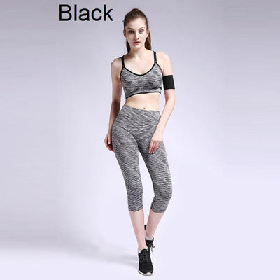 Yoga Set - Mid Impact Sports Bra And Cropped Legging - Dealeaz