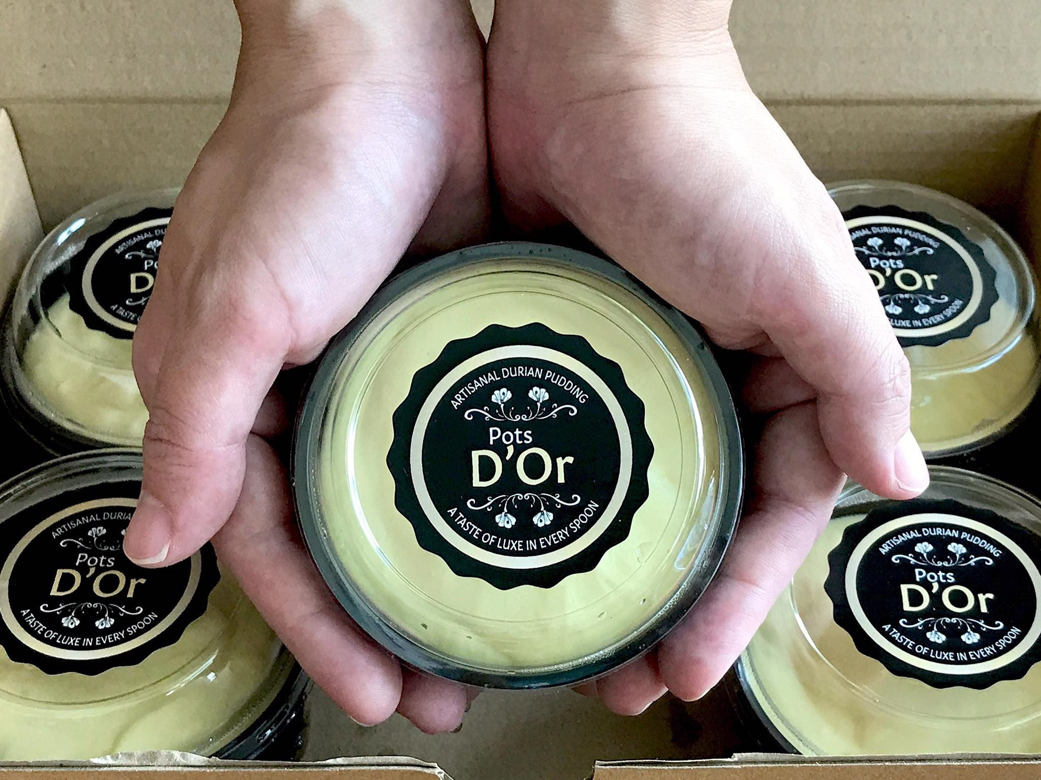 Pots D'Or Artisanal Durian Pudding (Double Shot) | Who can resist these delectable Double Shot Durian Pudding pots which are topped with a generous dollop of 100% pure creamy durian.