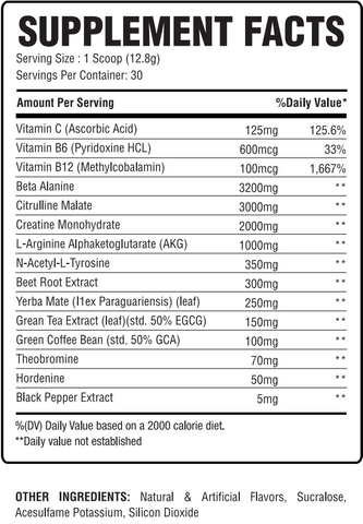 previs - supercharged pre-workout powder clean berry pure citrus supplement facts label