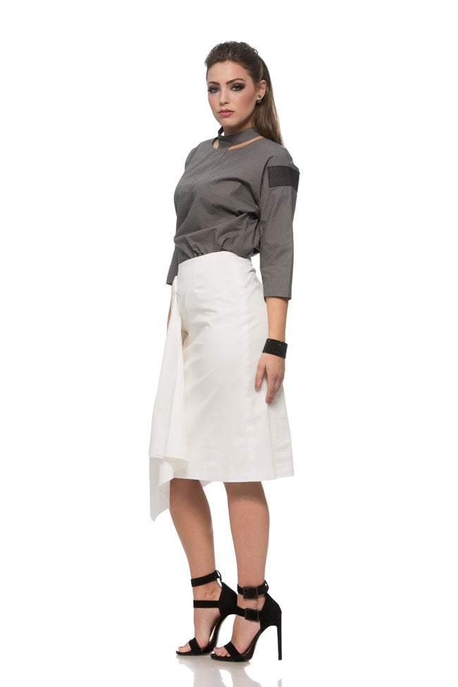 Oversize Shirt with Cutout Collar