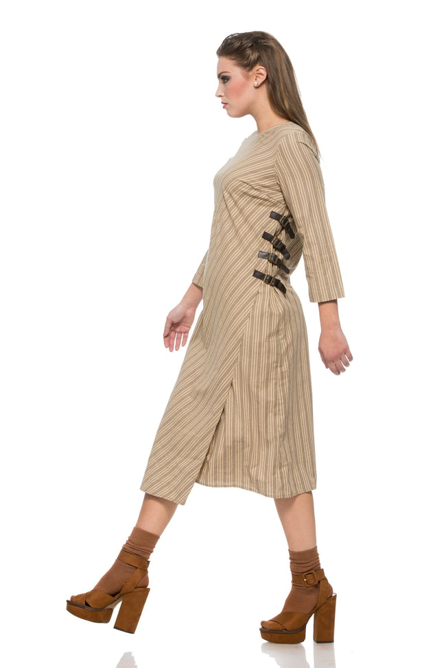Wraparound Dress with Buckles