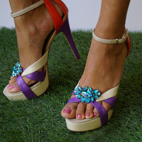 colorful heels with pixie shoe clip