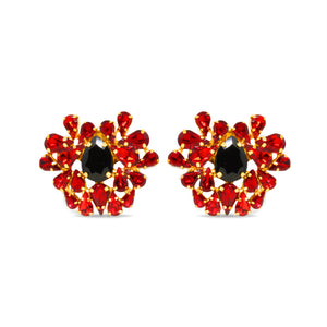 rebel red and black crystal Shoe Clip on Accessory by Trendyva pair