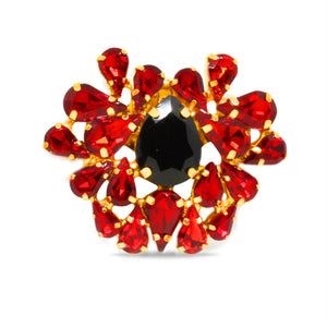 rebel red and black crystal Shoe Clip on Accessory by Trendyva single