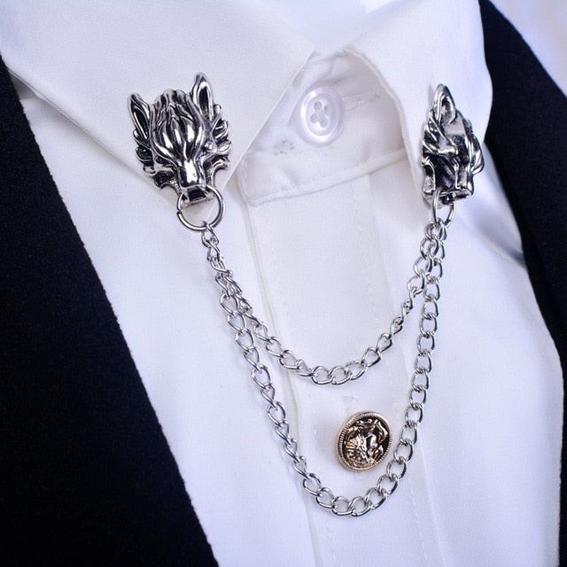 Chained Dragon Collar Brooch