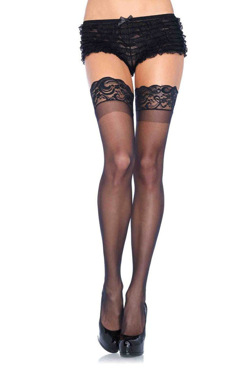 Leg Avenue 1022 Stay Up 3 Inch Lace Top Lycra Sheer Thigh Hi