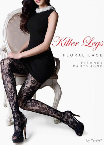 e47b40a2cb4 Yelete 168YD099 Killer Legs Floral Lace Fishnet Tights.  6.00. Yelete  168YD022Q Killer Legs Back Seam with Bow Tie Fishnet Pantyhose