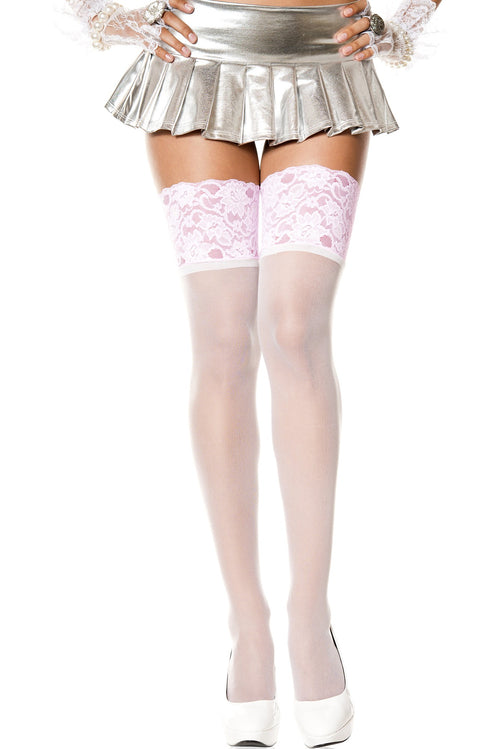 Music Legs 4126 Wide Contrast Lace Sheer Thigh Hi