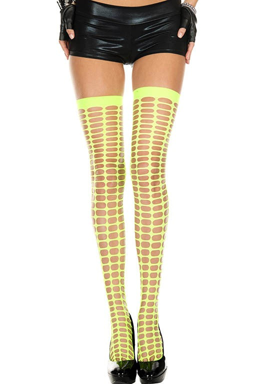 Music Legs 4442 Oval Net Spandex Thigh Hi