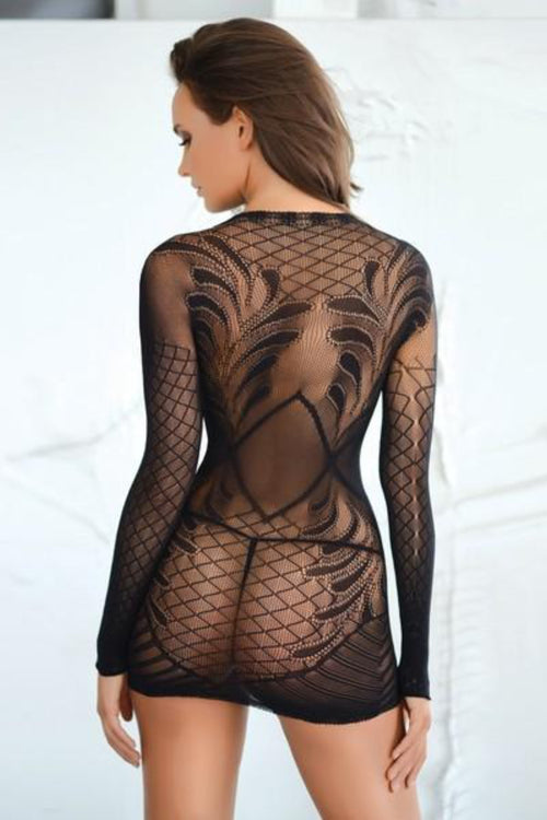 Yelete 818JT156 Killer Legs Fishnet Mini Dress