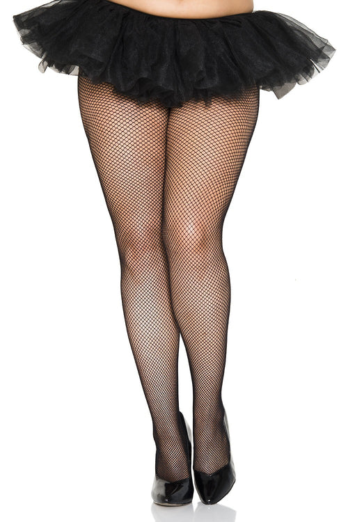 Music Legs 9001Q Plus Size Fishnet Seamless Pantyhose